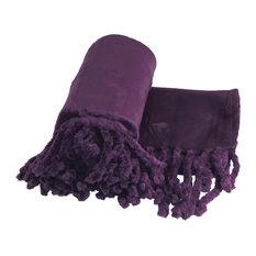 "Braided Rope Flannel Fleece Throw, Blackberry Wine, 50""x60"""
