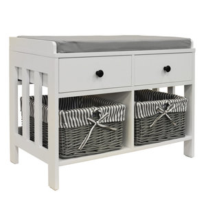 Double Shoe Bench With 2 Drawers and Baskets, White and Grey