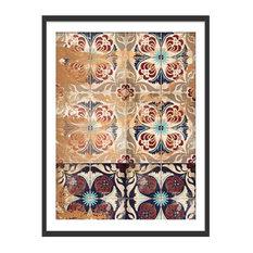 """Moroccan Tiles"" Geometric Art Print, Black Framed, 30x40 cm"
