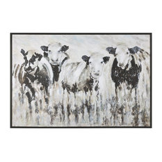 Oversize Modern Farmhouse Cow Painting, Black White Abstract Animal