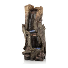 """Alpine Rainforest Waterfall Tree Trunk With LED Lights, 41"""" Tall"""