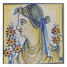 "Woman Square Tile, San Donato, Made in Castelli, Italy, 4""x4"""