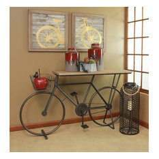 Sagebrook Home Bicycle Console Table Charcoal Accent