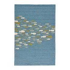 "Jaipur Living Go Fish Indoor/Outdoor Animal Blue/Green Area Rug, 7'6""x9'6"""