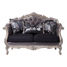 Acme Chantelle Loveseat With 3-Pillows, Antique Platinum
