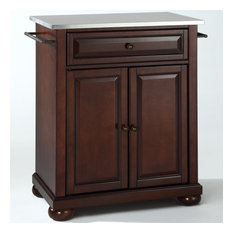 Crosley Alexandria Stainless Steel Top Portable Kitchen Island In Mahogany