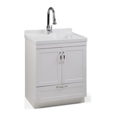 """Maile 28"""" Cabinet With Pull-out Faucet, ABS Sink, Pure White"""