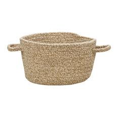 "Manteo Braided Basket, Tan Hues, 12""x12""x7.5"""