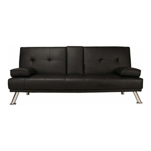 Modern Sofa Bed, Faux Leather With Cup Holder, Two Pillows and Chrome Legs