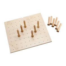 Small 24 x 21 Wood Peg Board System, 9 pegs