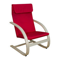 Mia Bentwood Reclining Chair, Natural/Red