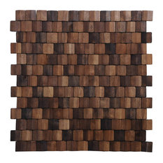 "15.75""x15.75"" Terrace Wood Mosaic Multi Brown Wall Tiles, Set of 6"