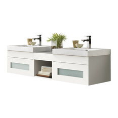"Ronbow 62"" Rebecca Bathroom Vanity Set With Ceramic Sink Top"