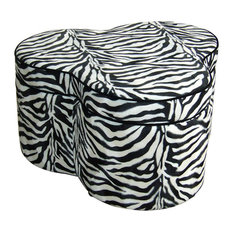 Ore International   17.5 Inch Zebra Storage Ottoman With Three Seating    Footstools And Ottomans