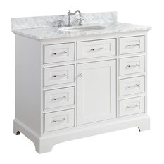 "Aria Bathroom Vanity, Base: White, 42"", Top: Carrara Marble"