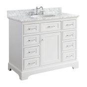 "Aria Bath Vanity, Base: White, 42"", Top: Carrara Marble"