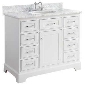 "Aria Bath Vanity, Base: White, 42"", Top: Carrara Marble"