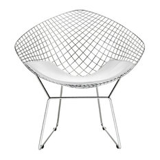 Modern Selections   Wire Mesh Diamond Accent Chair In Chrome Finish, White  Seat Pad