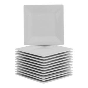 Square Bread and Butter Party Pack, Set of 12, White, 6.5''x6.5x5''