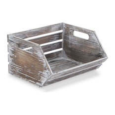 Wood Slat Stackable Storage With Side Handles, Gray Wash