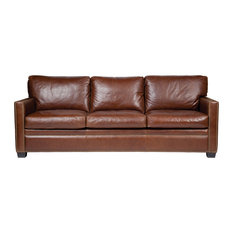 Transitional Track Arm Leather Sofa With Decorative Nails