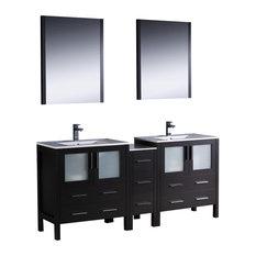 """Fresca Torino 72"""" Espresso Double Sink Vanity w/ Side Cabinet & Sinks"""