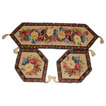 Tache Home Fashion - Floral Tapestry Woven Morning Awakenings Table Runner 3 Piece Set, 33 X 43, 33x - Decorate your table with our beautiful Morning Awakening Table Runner. Colorful woven flowers feature heavily on this runner. Bright and colorful liven up your next dinner party with this runner. Great Gift Idea!