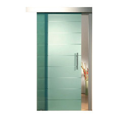 """Sliding Glass Barn Door Frosted Glass With Transparent Lines Design, 36""""x84"""", Ri"""