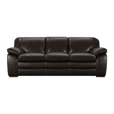 Armen Living - Zanna Contemporary Sofa, Genuine Dark Brown Leather With Brown Wood Legs - Sofas