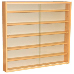 Wall Display Cabinet, Beech Particle Board With Glass Sliding Doors, 6-Shelf