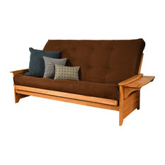Mesa Frame Queen Futon With Butternut Finish, Suede Chocolate