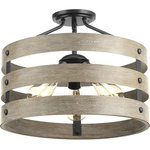 Progress Lighting - Gulliver 3-Light Semi-Flush Convertible - Three circular bands wrap together to create an open design in Gulliver. Hand painted to emulate weathered driftwood, the Graphite frame is accented by smooth knobs and encases exposed bulbs. The wood grained texture complements rustic farmhouse home decor.