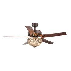 Warehouse of Tiffany 3-Light Ceiling Fan, Brown Finish