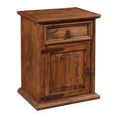 Rustic Solid Wood 1-Door And 1-Drawer Nightstand