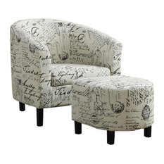 Monarch Specialties Accent Chairs, 2-Piece Set, Vintage French Fabric, I8058