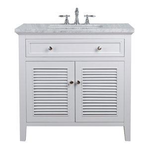 "36"" White Single Vanity Cabinet With Shutter Double Doors Single Bathroom Sink"