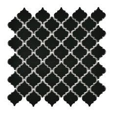 SomerTile Hudson Tangier Mosaic Floor/Wall Tile, Glossy Black, Sample