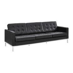 Loft Leather Sofa, Black