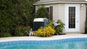 Nirvana heat pump in a garden