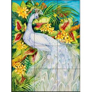 Tile Mural, White Peacock, 32.4x43.2 cm