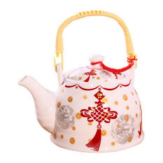 Ceramic Cold Kettle Boiled Teapot With Wooden Handle, 35 Ounce, Red Chinese Knot