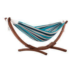 Double Sunbrella® Hammock With Solid Pine Arc Stand, Surfside Stripes