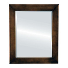Cafe Framed Rectangle Mirror, Rubbed Bronze, 28x40