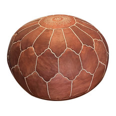Arch Shell, Moroccan Pouf Ottoman Leather, Un-Stuffed, Rustic Brown