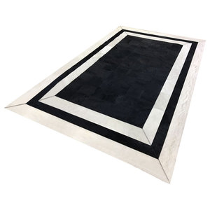 Patchwork Leather Cubed Cowhide SR2 Rug, Black and White, 200x300 cm