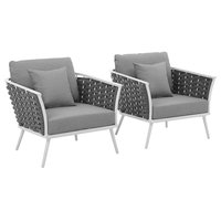 Stance Armchair Outdoor Patio Aluminum Set of 2, White Gray