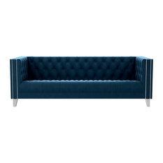 Dorie Velvet Sofa, Navy Blue
