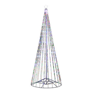 Outdoor Multi-Color LED Cone Tree With Collapsible Base, Wireless Remote, 16 Ft