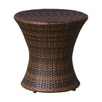 GDF Studio Townsgate Outdoor Brown Wicker Hourglass Accent Table