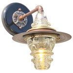 """Railroadware - Insulator Light Pendant Lantern Sconce Rusted Steel Hood Brass & Glass Bell Cap - Vintage lighting for that rustic or modern interior with historic connections to the railroad and early telecom industries. Insulator lights are regionally sourced and made in the USA. Some insulators are over a 100 years old. Insulators comes in a variety of colors, sizes and shapes. This lantern fixture includes 2 insulators, steel pipe hardware, 7"""" rusted steel hood with brass escutcheon with a insulator bell cap."""